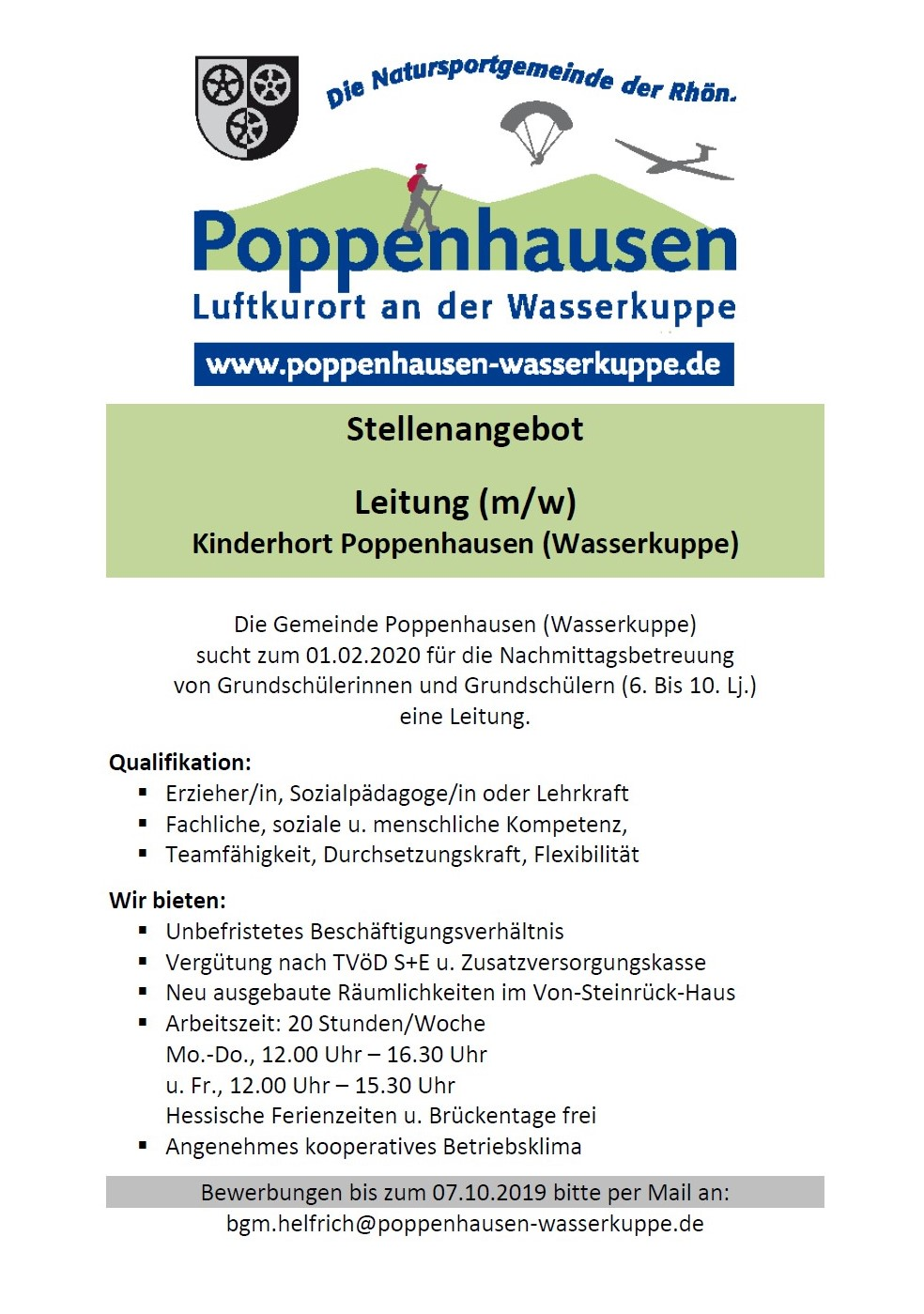 Stellenausschreibung für die Leitung des Kinderhortes Poppenhausen